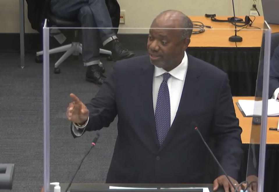 In this image from video, prosecutor Jerry Blackwell, gives rebuttal during closing arguments as Hennepin County Judge Peter Cahill presides Monday, April 19, 2021, in the trial of former Minneapolis police Officer Derek Chauvin, in the May 25, 2020, death of George Floyd at the Hennepin County Courthouse in Minneapolis, Minn. (Court TV via AP, Pool)