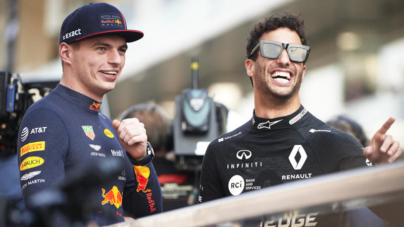 Red Bull Racing driver Max Verstappen and Renault's Daniel Ricciardo attend the drivers parade ahead of the Abu Dhabi F1 Grand Prix race at the Yas Marina Circuit. (Photo by Jure Makovec/SOPA Images/LightRocket via Getty Images)