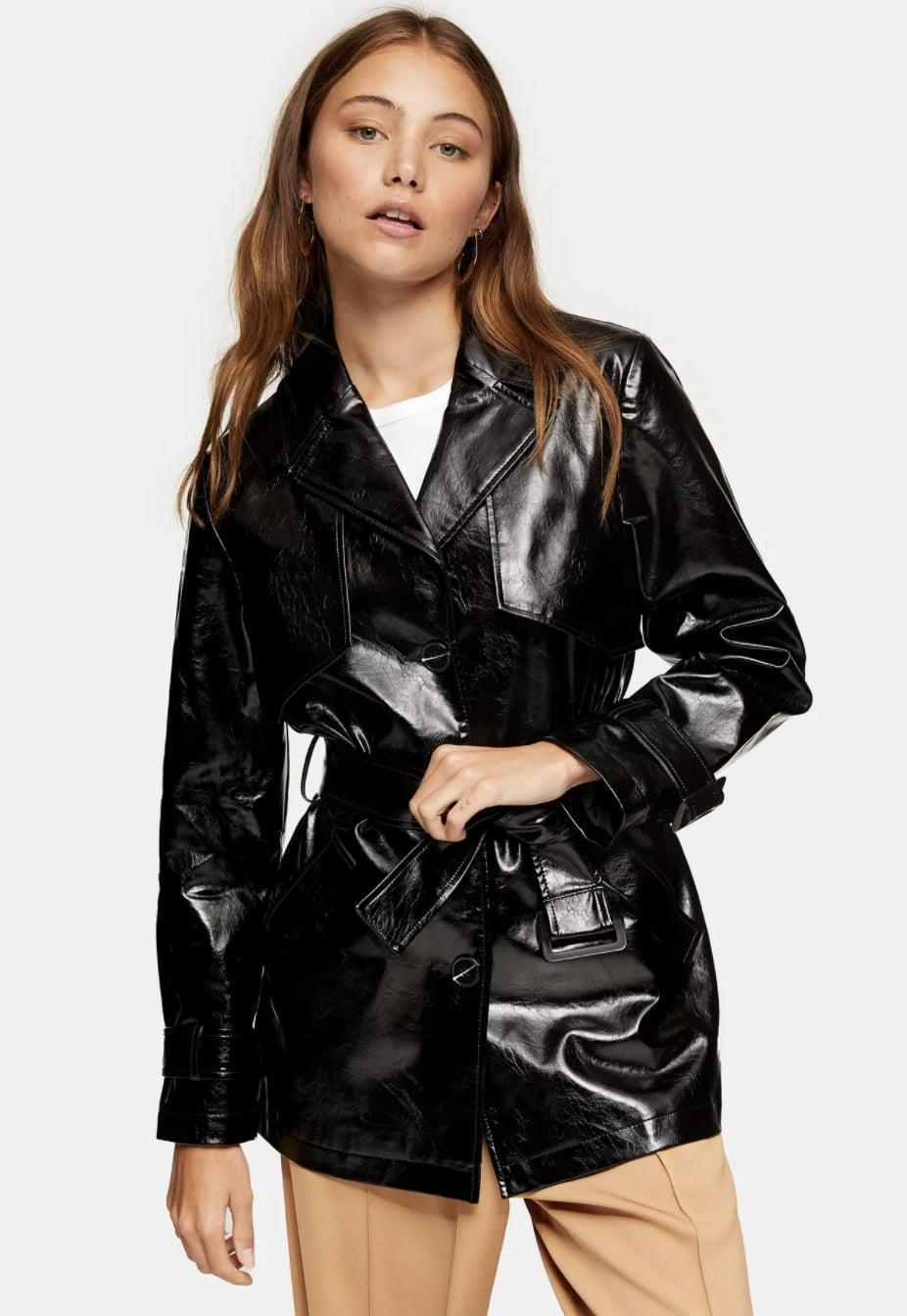<p>This <span>Vinyl Belted Shacket</span> ($115) makes a strong fashion statement.</p>