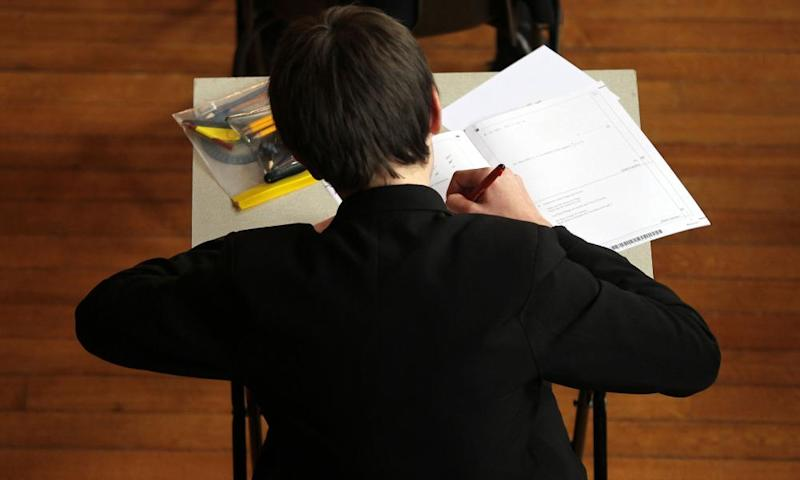 A pupil sits an exam.