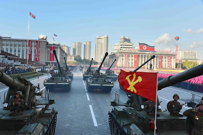 <p>North Korean military participate in the celebration of the 70th anniversary of the founding of the ruling Workers' Party of Korea, in this undated photo. (KCNA/Reuters) </p>