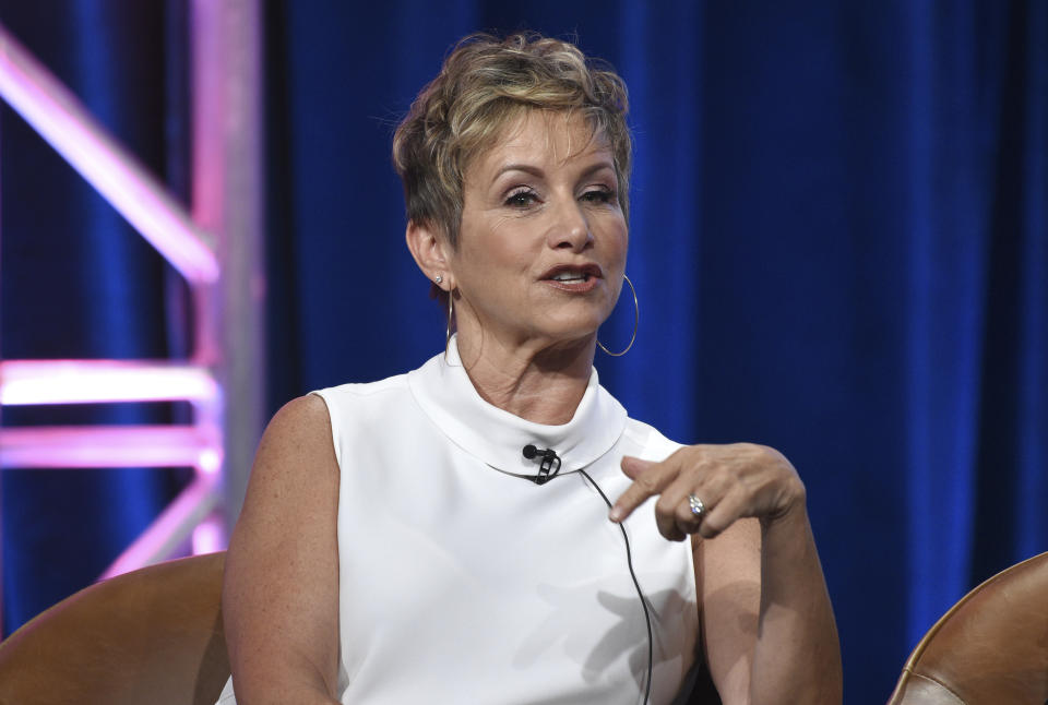 """Gabrielle Carteris participates in Fox's """"BH90210"""" panel at the Television Critics Association Summer Press Tour on Wednesday, Aug. 7, 2019, in Beverly Hills, Calif. (Photo by Chris Pizzello/Invision/AP)"""