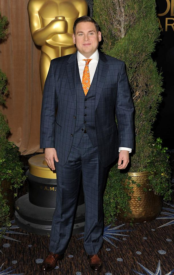Jonah Hill showed off his slimmer self by sporting a three-piece suit. An orange tie added a much-needed pop of color.