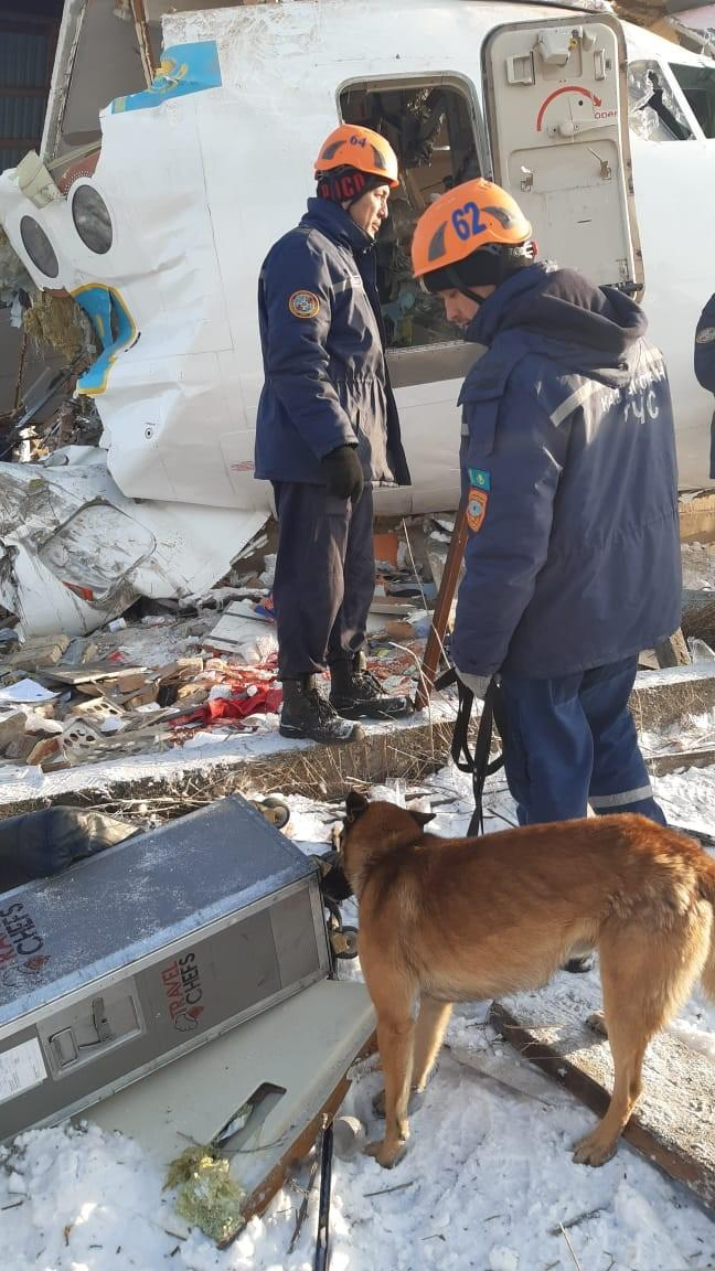 """ALMATY, KAZAKHSTAN - DECEMBER 27: (----EDITORIAL USE ONLY  MANDATORY CREDIT - """"COMMITTEE FOR EMERGENCY SITUATIONS OF KAZAKHSTAN / HANDOUT"""" - NO MARKETING NO ADVERTISING CAMPAIGNS - DISTRIBUTED AS A SERVICE TO CLIENTS----) A photo shows the wreckage of a passenger plane after it crashed on December 27, 2019 in Almaty, Kazakhstan. At least 15 people were killed and 66 injured early on Friday when a passenger plane crashed while taking off in Kazakhstan. Rescue efforts are underway at the scene, it added. Kazakhstan's President Kassym Jomart Tokayev announced December 28, 2019, to be the day of national mourning due to passenger plane crashed.     (Photo by Committee for Emergency Situations of Kazakhstan / Handout/Anadolu Agency via Getty Images)"""