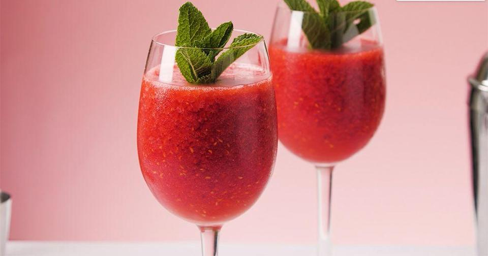 """<p>Hello Prosecco! Add frozen raspberries to make this gorgeous berry slushie.</p><p><strong>Recipe: <a href=""""https://www.goodhousekeeping.com/uk/food/recipes/a28298475/prosecco-slushies/"""" rel=""""nofollow noopener"""" target=""""_blank"""" data-ylk=""""slk:Prosecco slushies"""" class=""""link rapid-noclick-resp"""">Prosecco slushies</a></strong></p>"""
