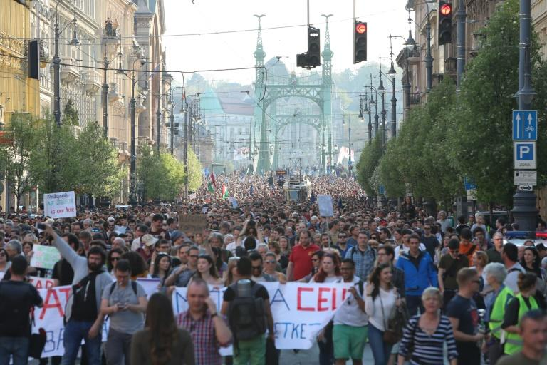 People demonstrate in support of the Central European University (CEU) in Budapest on April 2, 2017, following allegations of the Hungarian Prime Minister that the prestigious university was cheating students by breaking rules