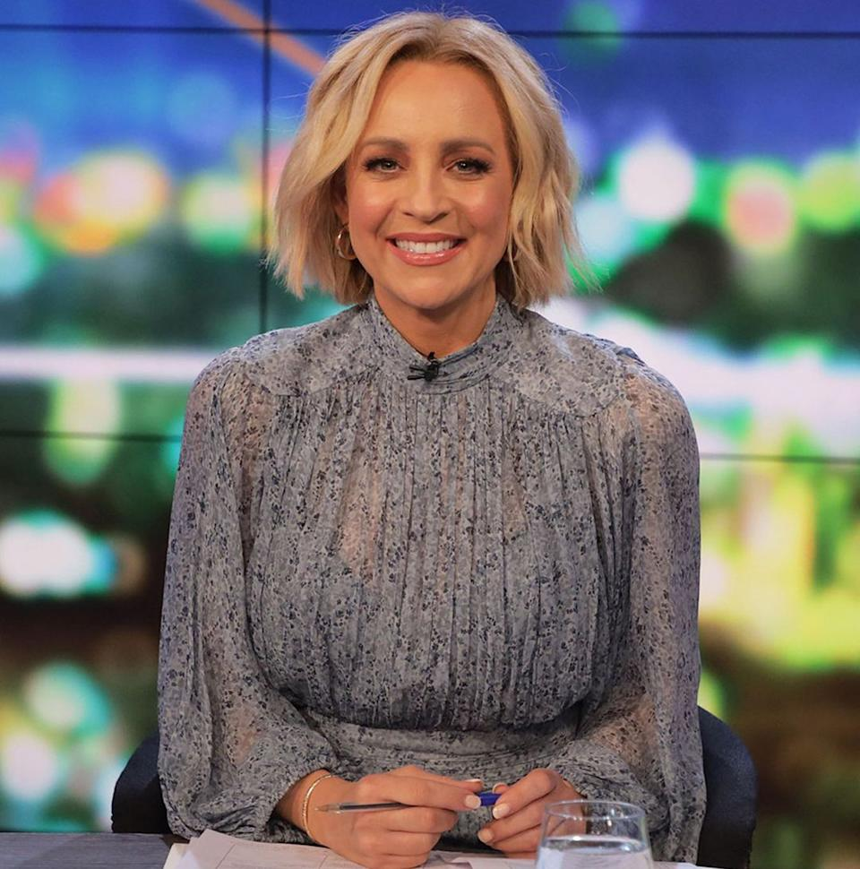 The Project host Carrie Bickmore wearing a blue dress on set. Photo: Channel 10.