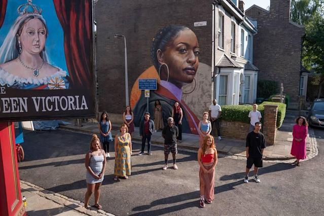 EastEnders' Albert Square has a new mural of a black woman, drawn by artist Dreph. (BBC)