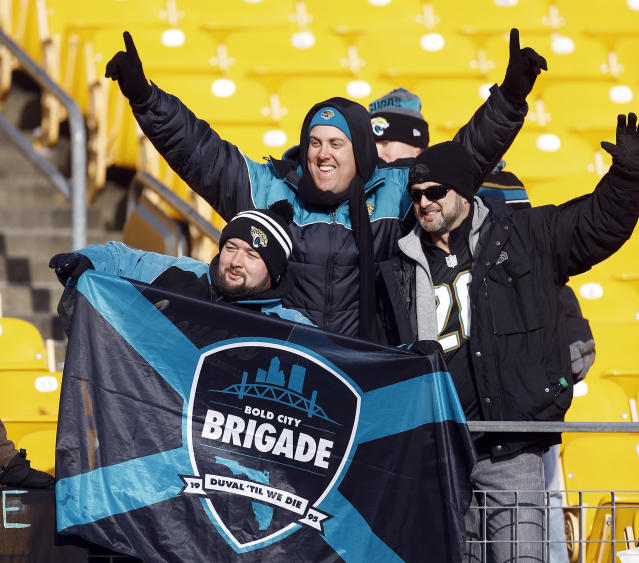 Jacksonville Jaguars fans are still savoring their team's win over the Steelers on Sunday. (AP)