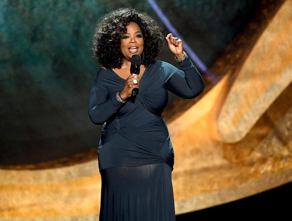 """Oprah Winfrey speaks onstage at """"Q 85: A Musical Celebration for Quincy Jones"""" at the Microsoft Theatre on Tuesday, in Los Angeles."""