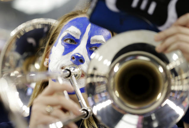 The Connecticut band plays before their NCAA Final Four tournament college basketball semifinal game against Florida Saturday, April 5, 2014, in Dallas. (AP Photo/Eric Gay)