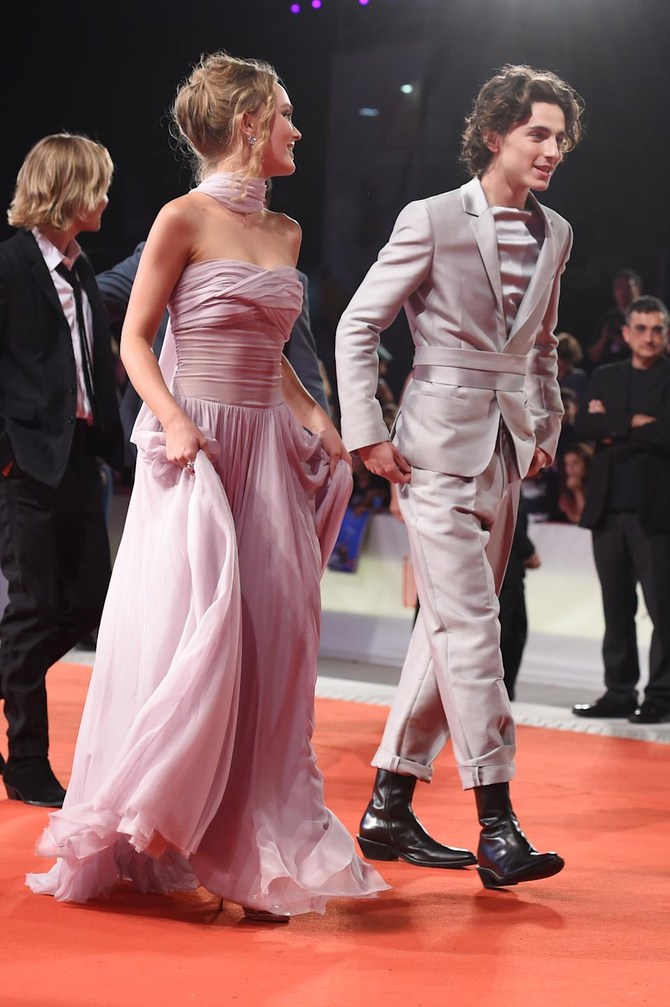 """VENICE, ITALY - SEPTEMBER 02: Lily-Rose Depp and Timothee Chalamet attend """"The King"""" red carpet during the 76th Venice Film Festival at Sala Grande on September 02, 2019 in Venice, Italy. (Photo by Stefania D'Alessandro/WireImage,)"""