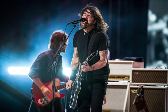 INGLEWOOD, CA - MAY 02: The Foo Fighters perform at the Vax Live concert at SoFi Stadium on Sunday, May 2, 2021 in Inglewood, CA. (Jason Armond / Los Angeles Times)
