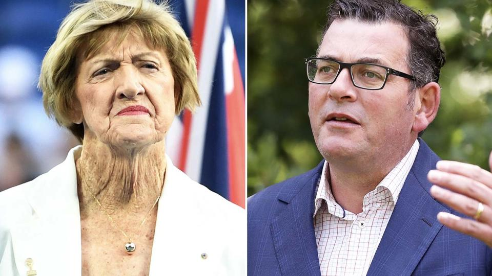 Daniel Andrews and Margaret Court, pictured here in Melbourne.