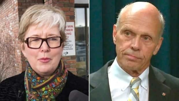 Alberta Fair Deal Panel member Donna Kennedy-Glans and Steve Allan, the commissioner of the province's public inquiry into anti-Alberta energy campaigns, are seen in these file photos. (Left: Bill Graveland/Canadian Press, Right: CBC - image credit)