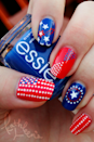 """<p>Although this manicure was inspired by <em><a href=""""https://www.goodhousekeeping.com/holidays/gift-ideas/g434/gifts-for-teens/?slide=19"""" rel=""""nofollow noopener"""" target=""""_blank"""" data-ylk=""""slk:Captain America"""" class=""""link rapid-noclick-resp"""">Captain America</a></em>, we're pretty sure the <a href=""""https://www.goodhousekeeping.com/life/parenting/g27274240/avengers-comics-books-tv-kids/"""" rel=""""nofollow noopener"""" target=""""_blank"""" data-ylk=""""slk:Avenger"""" class=""""link rapid-noclick-resp"""">Avenger</a> would be okay with wearing it on America's birthday.</p><p><a class=""""link rapid-noclick-resp"""" href=""""https://www.amazon.com/essie-nail-polish-aruba-sapphire/dp/B004FGAZNM?tag=syn-yahoo-20&ascsubtag=%5Bartid%7C10055.g.1278%5Bsrc%7Cyahoo-us"""" rel=""""nofollow noopener"""" target=""""_blank"""" data-ylk=""""slk:SHOP BLUE POLISH"""">SHOP BLUE POLISH</a></p><p><a href=""""http://kathleens-corner.tumblr.com/post/26540101986/holiday-4th-of-july-inspired-by-captain"""" rel=""""nofollow noopener"""" target=""""_blank"""" data-ylk=""""slk:See more on Kathleen's Corner »"""" class=""""link rapid-noclick-resp""""><em>See more on Kathleen's Corner »</em></a></p>"""