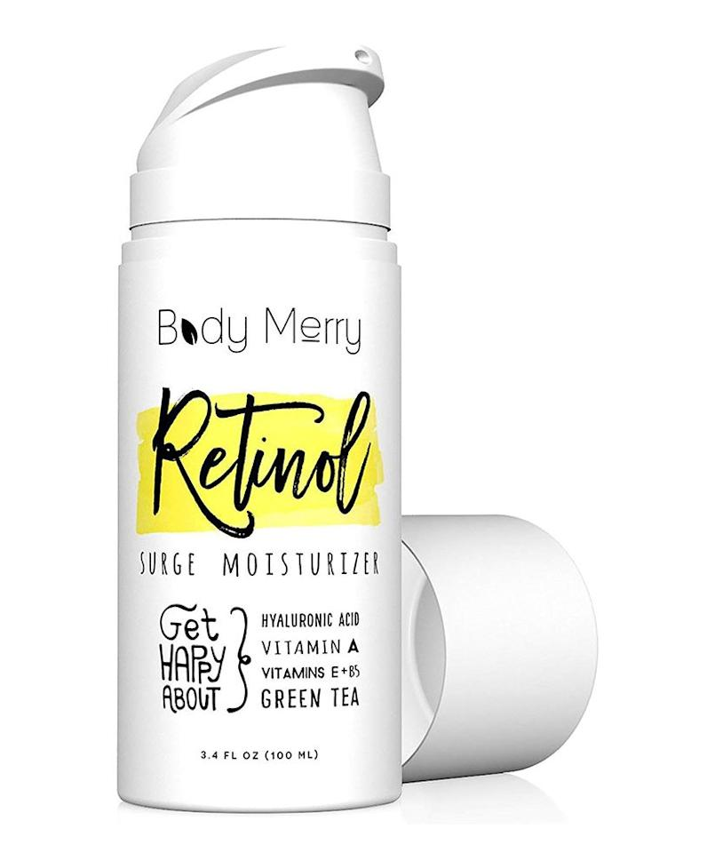 "<p>Compared to other retinol creams on the market, this is one of the most affordable options we've found that still delivers results. Customers can't get enough of its ""silky"" feel that's light enough to apply daily and won't clog your pores. Along with retinol—its powerful star ingredient that can help reduce fine lines in a matter of weeks—it also packs hydrating ingredients like aloe, jojoba oil, and green tea, along with antioxidants like vitamins A and E for an extra dose of anti-aging benefits.</p> <p><strong>To buy: </strong>$23; <a href=""https://www.amazon.com/Body-Merry-Moisturizer-Hyaluronic-Hydration/dp/B00OQQLNG4/ref=as_li_ss_tl?ie=UTF8&linkCode=ll1&tag=rsbeubodymerrybeautymalcedo-20&linkId=cf81c951ee3bee08a241acad752ff682&language=en_US"">amazon.com</a>. </p>"
