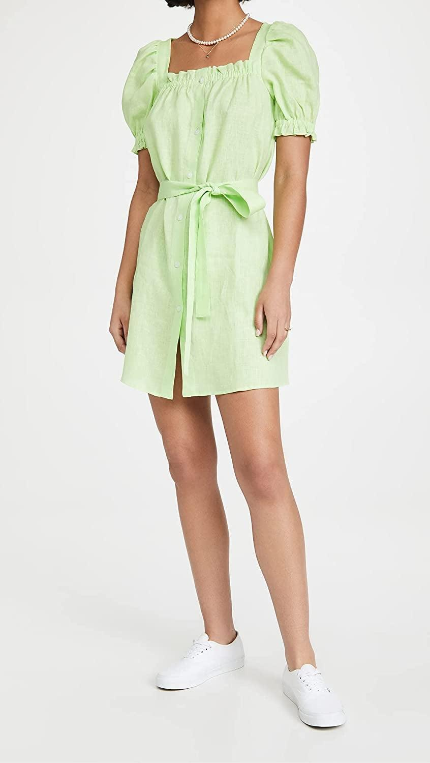 <p>This <span>Sleeper Brigitte Linen Minidress</span> ($260) is far from a regular dress, thanks to the belt detail, puff sleeves and fresh color palette.</p>