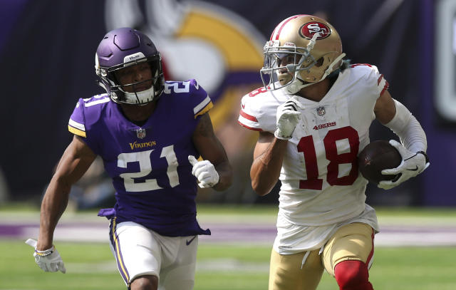 Dante Pettis made a house call in his NFL debut and has a shot at a significant workload in the week(s) ahead. (AP Photo/Jim Mone)