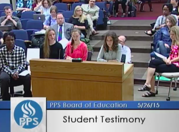 Sophia Carlson and three other middle school students spoke at a Portland Public School board hearing in protest of dress codes. (YouTube)