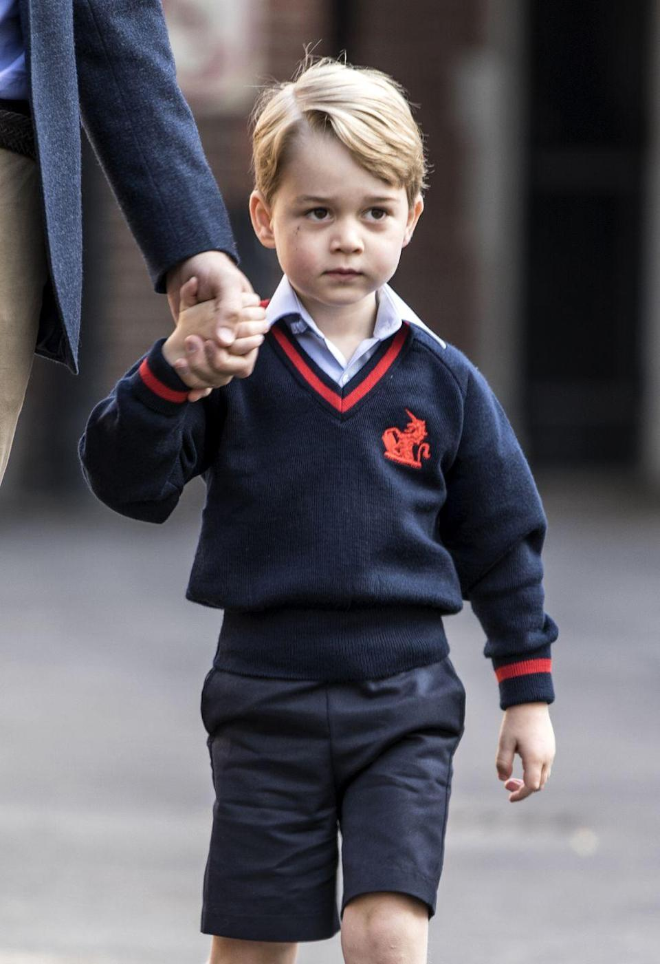 """<p><strong>Branch of the Family Tree:</strong> Son of Prince William; grandson of Prince Charles; great-grandson of Queen Elizabeth II</p><p><strong>More:</strong> <a href=""""https://www.townandcountrymag.com/society/tradition/g10044961/prince-george-photos-news/"""" rel=""""nofollow noopener"""" target=""""_blank"""" data-ylk=""""slk:The Cutest Photos of Prince George"""" class=""""link rapid-noclick-resp"""">The Cutest Photos of Prince George</a></p>"""