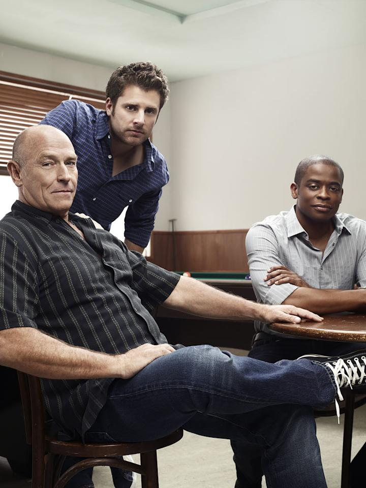 "Corbin Bernsen as Henry Spencer, James Roday as Shawn Spencer, and Dule Hill as Burton ""Gus"" Guster in ""Psych."""