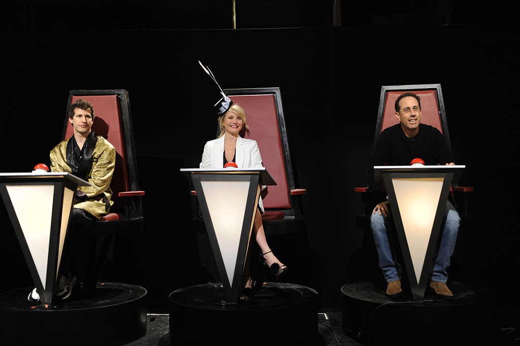 """Andy Samberg, Cameron Diaz and Jerry Seinfeld appear in the twelfth episode of """"Saturday Night Live"""" Season 38."""
