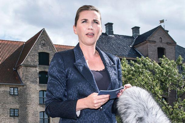 PHOTO: Denmark's Prime Minister Mette Frederiksen talks to the press after President Donald Trump cancelled his state visit after her government said its territory Greenland was not for sale, Aug. 21, 2019, in Copenhagen, Denmark. (Mads Claus Rasmussen/AFP/Getty Images)