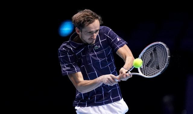 Daniil Medvedev hits a backhand during his victory over Diego Schwartzman