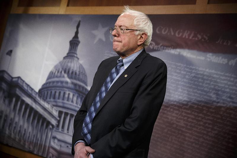 Senate Veterans Affairs Committee Chairman Sen. Bernie Sanders, I-Vt., stands in defeat after a divided Senate derailed Democratic legislation providing $21 billion for medical, education and job-training benefits for the nation's veterans, as the bill fell victim to election-year disputes over spending and whether to slap sanctions on Iran, Thursday, Feb. 27, 2014, on Capitol Hill in Washingtons. (AP Photo/J. Scott Applewhite)