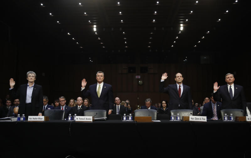 From left, Air Force Secretary Heather Wilson, Thomas Brandon, Acting Director of the Bureau of Alcohol, Tobacco, Firearms, and Explosives (ATF), Glenn Fine, Acting Inspector General, U.S. Department Of Defense, and Douglas Lindquist, Assistant Director Criminal Justice Information Services Division, FBI, Clarksburg, W.Va., are sworn in to testify during a Senate Judiciary Committee hearing on Capitol Hill in Washington, Wednesday, Dec. 6, 2017, (AP Photo/Carolyn Kaster)