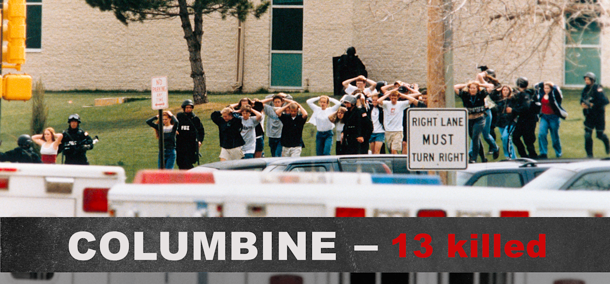 Students exit Columbine High School after two gunmen went on a shooting spree, killing 15 including themselves, on April 20, 1999, in Littleton, Colo. (Photo: Steve Starr/Corbis/Corbis via Getty Images)