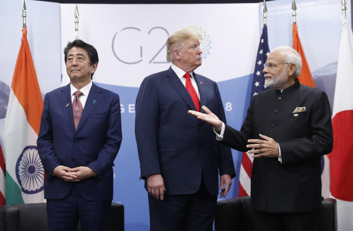 President Donald Trump meets with India's Prime Minister Narendra Modi, right, and Japan's Prime Minister Shinzo Abe, Friday, Nov. 30, 2018 in Buenos Aires, Argentina. (Photo: Pablo Martinez Monsivais/AP)
