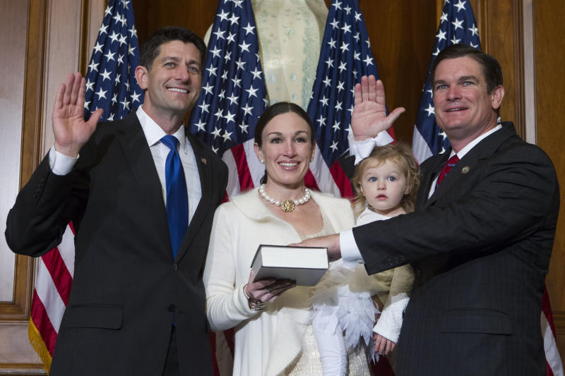 "<p> FILE - In this Jan. 3, 2017, file photo, House Speaker Paul Ryan of Wis. administers the House oath of office to Rep. Austin Scott, R-Ga., during a mock swearing in ceremony on Capitol Hill in Washington. The Republican newcomers stunned Washington in the 2010 midterm election, sweeping into the House majority with bold and boisterous promises to cut taxes, slash spending and rollback what many viewed as Barack Obama's executive overreach of the federal of government. Scott, the class president, objects to the ""tea party"" brand he says was slapped on the group by the media and the Obama administration. It's a label some lawmakers now would rather forget. ""We weren't who you all said we were,"" Scott said.(AP Photo/Jose Luis Magana, file) </p>"