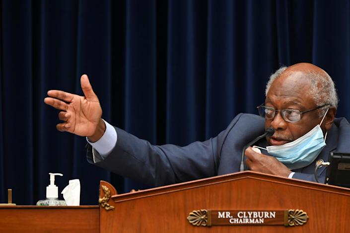 Rep. James Clyburn, D-S.C., speaks during a House Select Subcommittee on the Coronavirus Crisis hearing on July 31. (Erin Scott/Pool via Reuters)