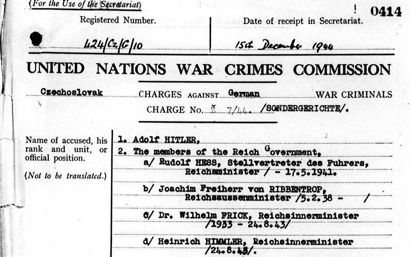 Several countries indicted Hitler and other senior Nazi leaders for war crimes (UNWCC)