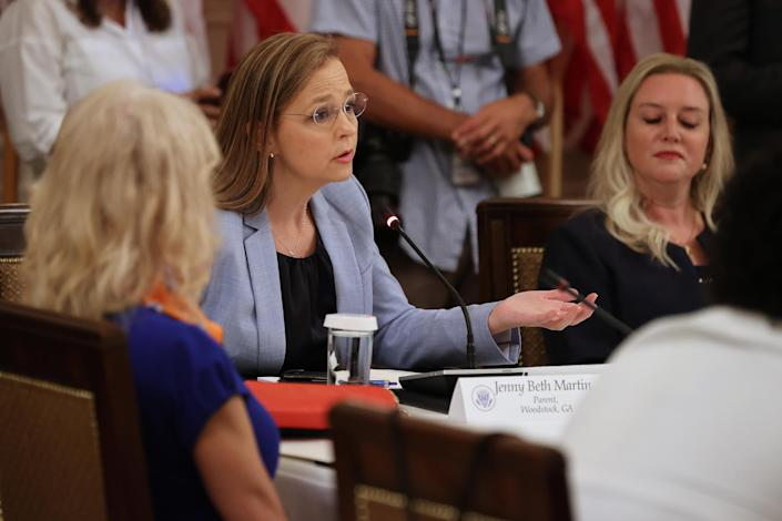 Tea Party Patriots co-founder Jenny Beth Martin at a July 7 meeting with President Trump, students, teachers and administrators about how to reopen schools during the pandemic. (Chip Somodevilla/Getty Images)