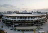 The National Stadium is pictured in Tokyo