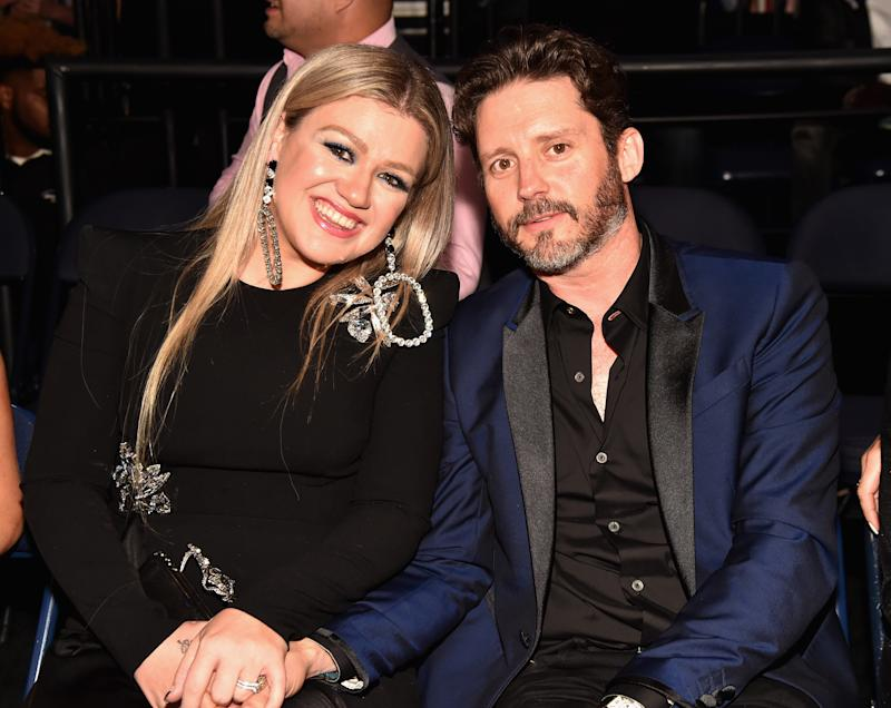 Kelly Clarkson and Brandon Blackstock attend the 2018 CMT Music Awards at Bridgestone Arena on June 6, 2018 in Nashville, Tennessee.
