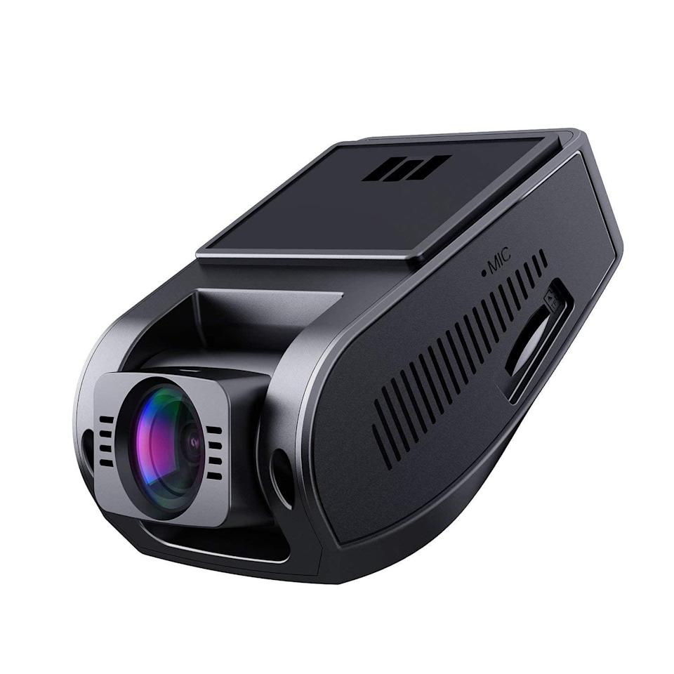 """<p>Keep everything recorded and give yourself peace of mind with this compact <a href=""""https://www.popsugar.com/buy/Aukey-Dash-Cam-402439?p_name=Aukey%20Dash%20Cam&retailer=amazon.com&pid=402439&price=70&evar1=geek%3Aus&evar9=36026397&evar98=https%3A%2F%2Fwww.popsugar.com%2Ftech%2Fphoto-gallery%2F36026397%2Fimage%2F45754533%2FAukey-Dash-Cam&list1=tech%2Cgifts%2Cgift%20guide%2Cdigital%20life%2Ctech%20shopping%2Ctech%20gifts%2Cgifts%20for%20men%2Cbest%20of%202019&prop13=mobile&pdata=1"""" class=""""link rapid-noclick-resp"""" rel=""""nofollow noopener"""" target=""""_blank"""" data-ylk=""""slk:Aukey Dash Cam"""">Aukey Dash Cam</a> ($70). It fits right on your rearview mirror, so you get another view while driving. </p>"""