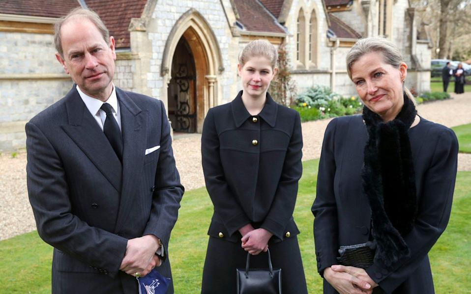 The Earl and Countess of Wessex, with their daughter Lady Louise Windsor, during a television interview at the Royal Chapel of All Saints, Windsor - Steve Parsons