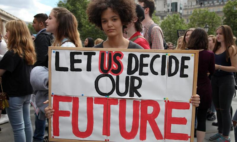A young woman calling for the voting age to be lowered during a protest in London, 2016
