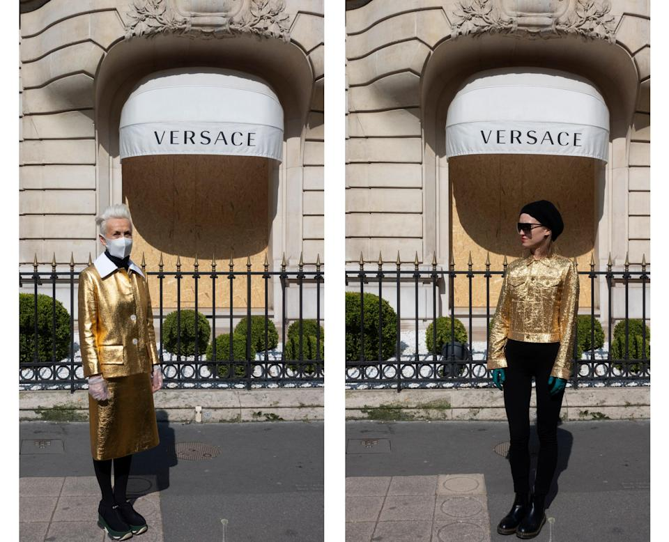 "<div class=""caption""> Wearing Prada and Comme des Garçons in front of the Versace store. </div>"