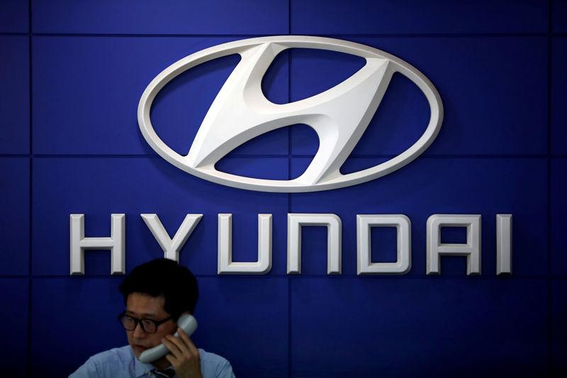 FILE PHOTO: The logo of Hyundai Motor is seen at a dealership in Seoul