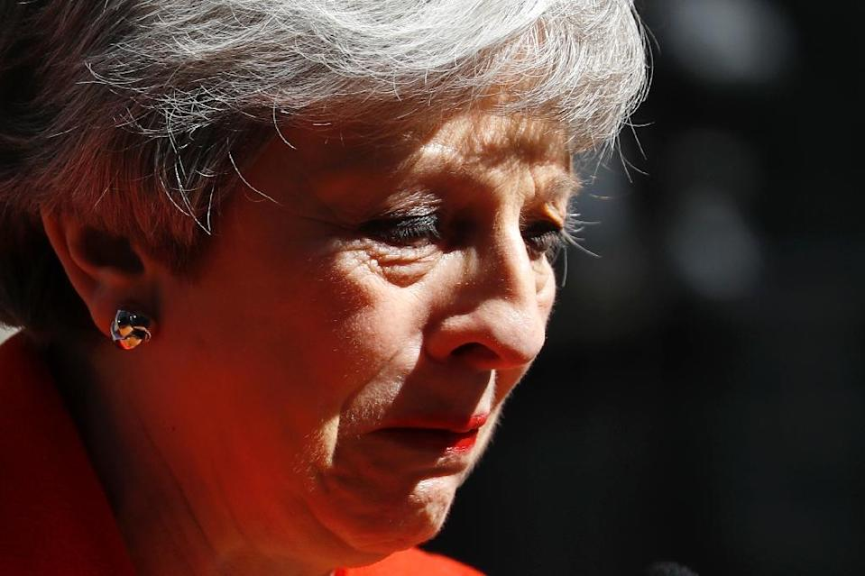 May finally acknowledged defeat in a tearful resignation speech last month (AFP Photo/Tolga AKMEN)