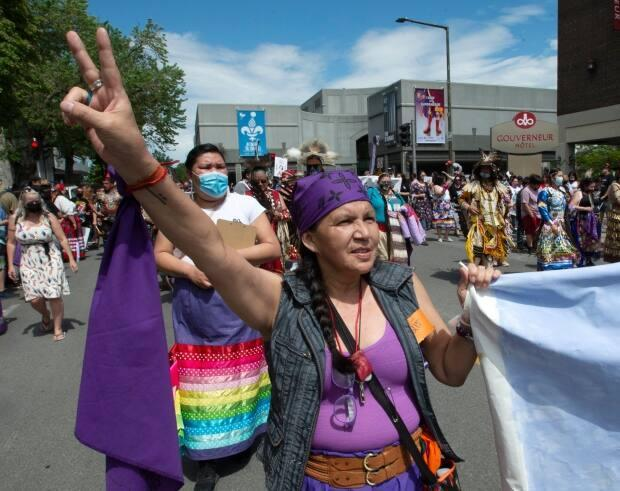 Manon Ottawa made her way to Trois-Rivières to take part in the march honouring her niece, Joyce Echaquan. (Ryan Remiorz/The Canadian Press - image credit)