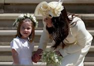 """<p>A flower girl pro, Princess Charlotte spoke with her mother Kate after the <a href=""""https://www.elle.com/uk/royal-wedding/"""" rel=""""nofollow noopener"""" target=""""_blank"""" data-ylk=""""slk:wedding of her uncle Prince Harry to Meghan Markle"""" class=""""link rapid-noclick-resp"""">wedding of her uncle Prince Harry to Meghan Markle</a> in May 2018.</p>"""