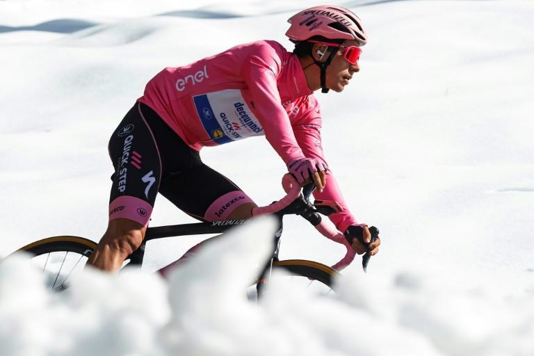 Team Deceuninck's Portuguese rider Joao Almeida has worn the Giro d'Italia leader's pink jersey for the past two weeks.