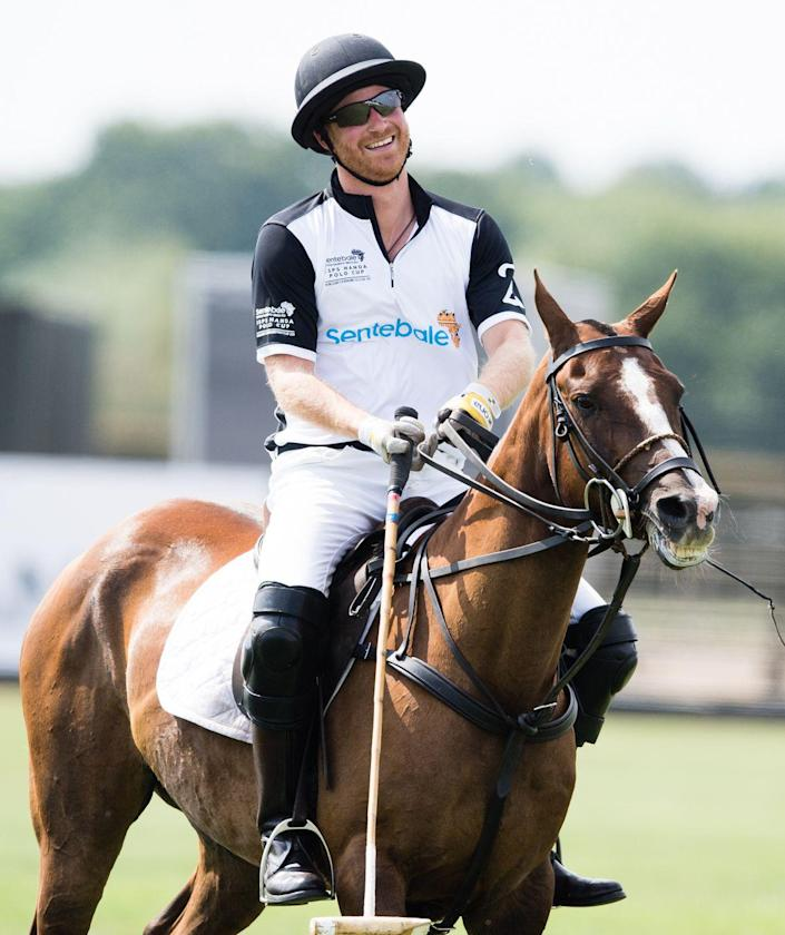 """<p>Prince Harry takes part in the Sentebale Polo 2018 held at the Royal County of Berkshire Polo Club in Windsor. Both Harry and Prince William compete in charity polo matches, and they've <a href=""""https://twitter.com/KensingtonRoyal/status/860884183115321344?s=20"""" rel=""""nofollow noopener"""" target=""""_blank"""" data-ylk=""""slk:raised more than £10 million"""" class=""""link rapid-noclick-resp"""">raised more than £10 million</a> since 2007.</p>"""