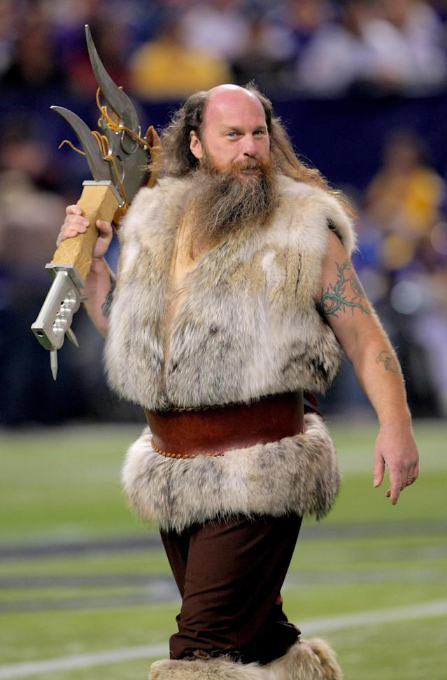 <p>Ragnar, the Vikings mascot, supports the Minnesota Vikings against the Baltimore Ravens during NFL action at Hubert H. Humphrey Metrodome on October 18, 2009 in Minneapolis, Minnesota. The Vikings defeated the Ravens 33-31. (Photo by Doug Pensinger/Getty Images) </p>